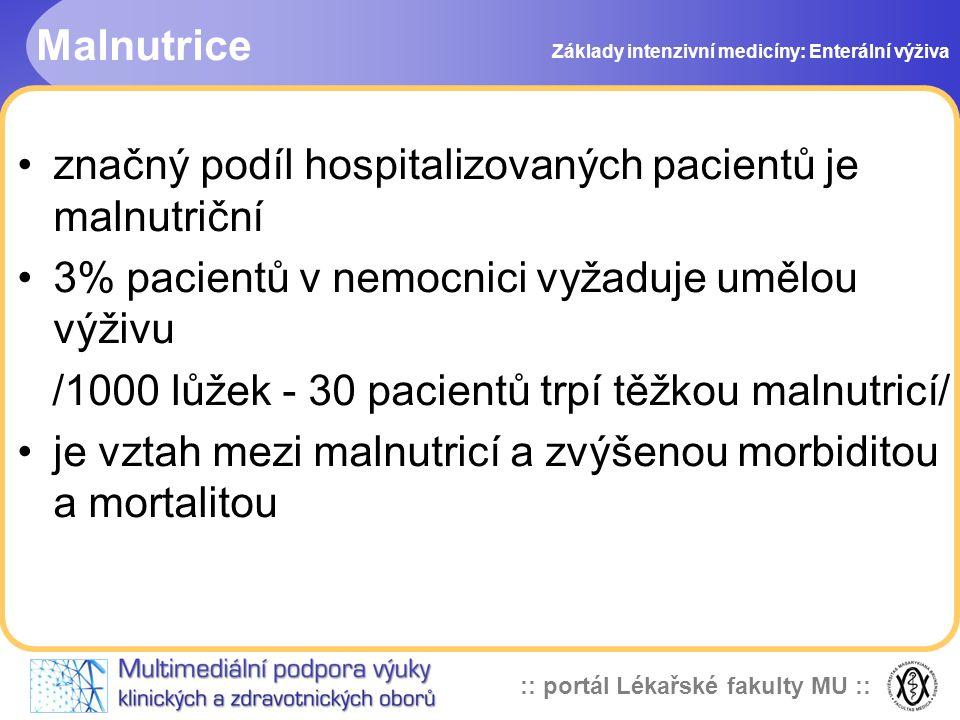 značný podíl hospitalizovaných pacientů je malnutriční