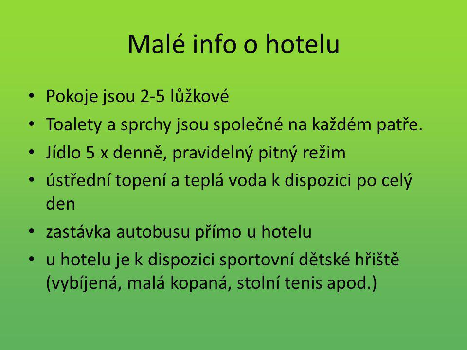Malé info o hotelu Pokoje jsou 2-5 lůžkové