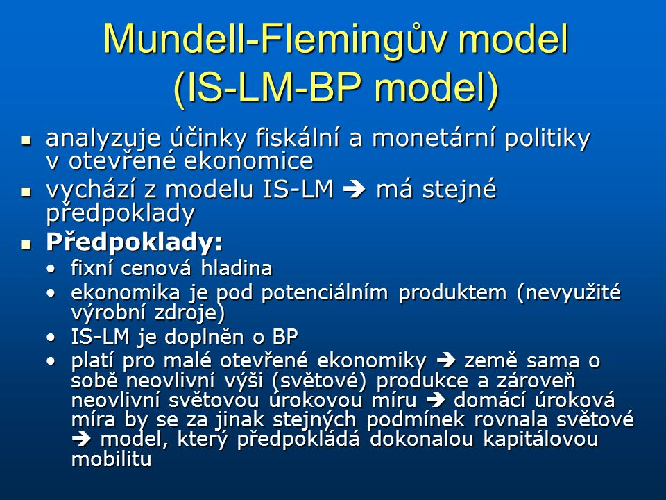 Mundell-Flemingův model (IS-LM-BP model)