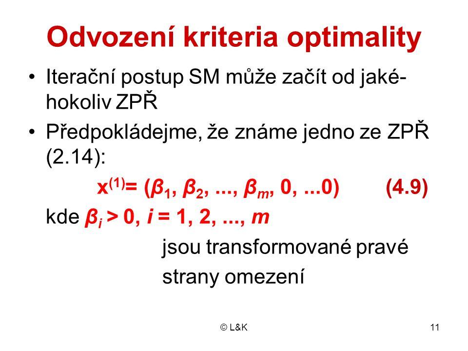 Odvození kriteria optimality