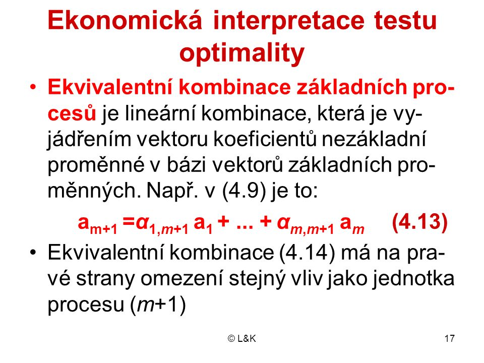 Ekonomická interpretace testu optimality