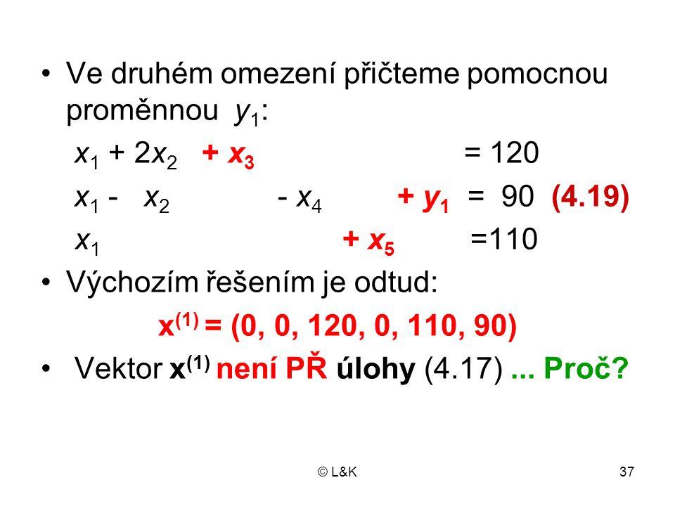 Ve druhém omezení přičteme pomocnou proměnnou y1: x1 + 2x2 + x3 = 120