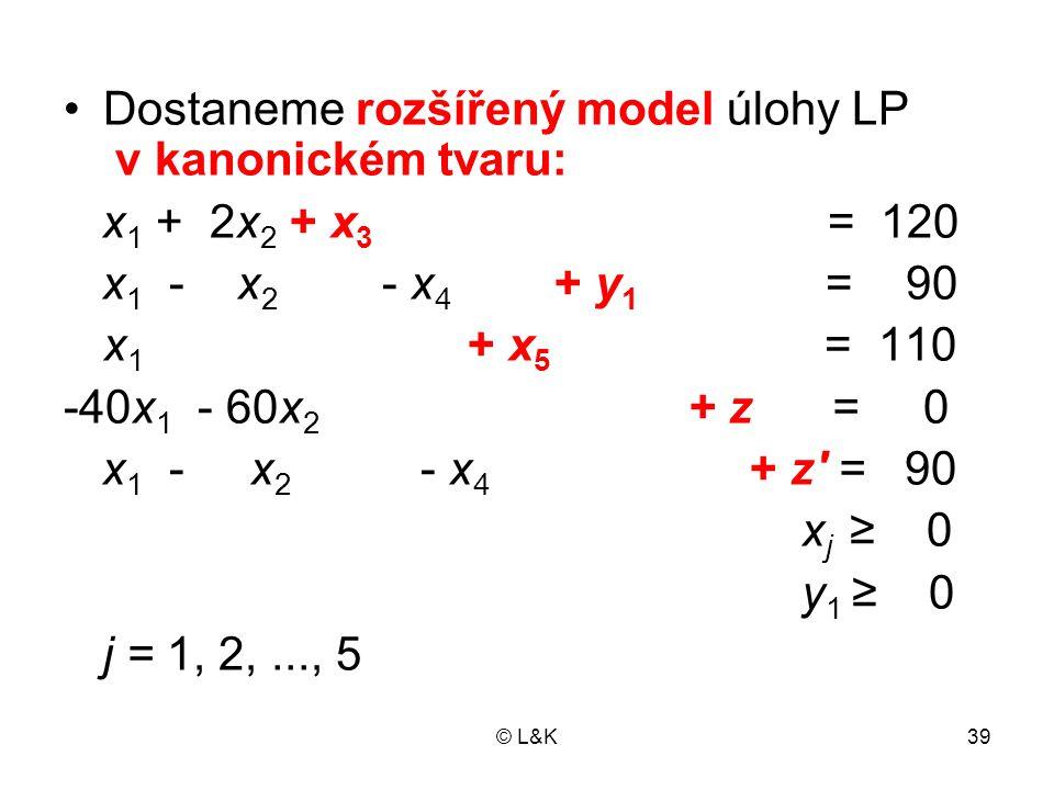 Dostaneme rozšířený model úlohy LP v kanonickém tvaru: