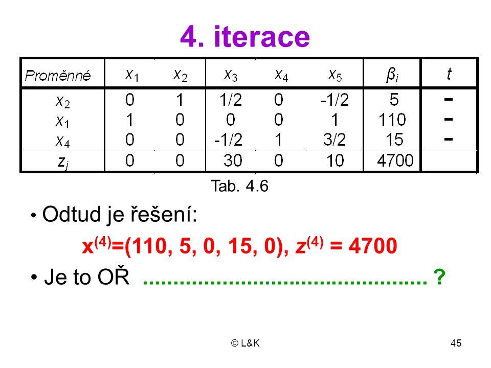 4. iterace Tab. 4.6. Odtud je řešení: x(4)=(110, 5, 0, 15, 0), z(4) = 4700. Je to OŘ ...............................................