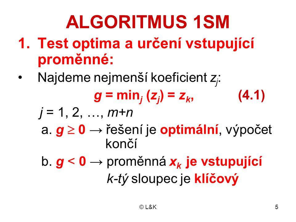 ALGORITMUS 1SM Test optima a určení vstupující proměnné: