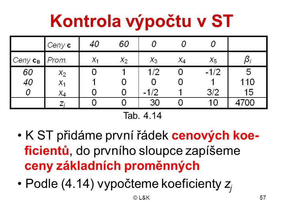 Kontrola výpočtu v ST • K ST přidáme první řádek cenových koe-
