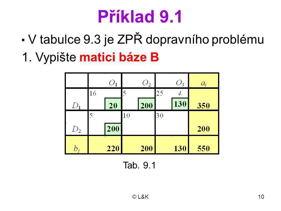 Příklad 9.1 1. Vypište matici báze B