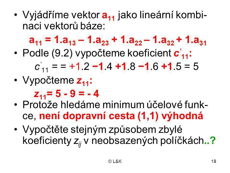 Vyjádříme vektor a11 jako lineární kombi-naci vektorů báze: