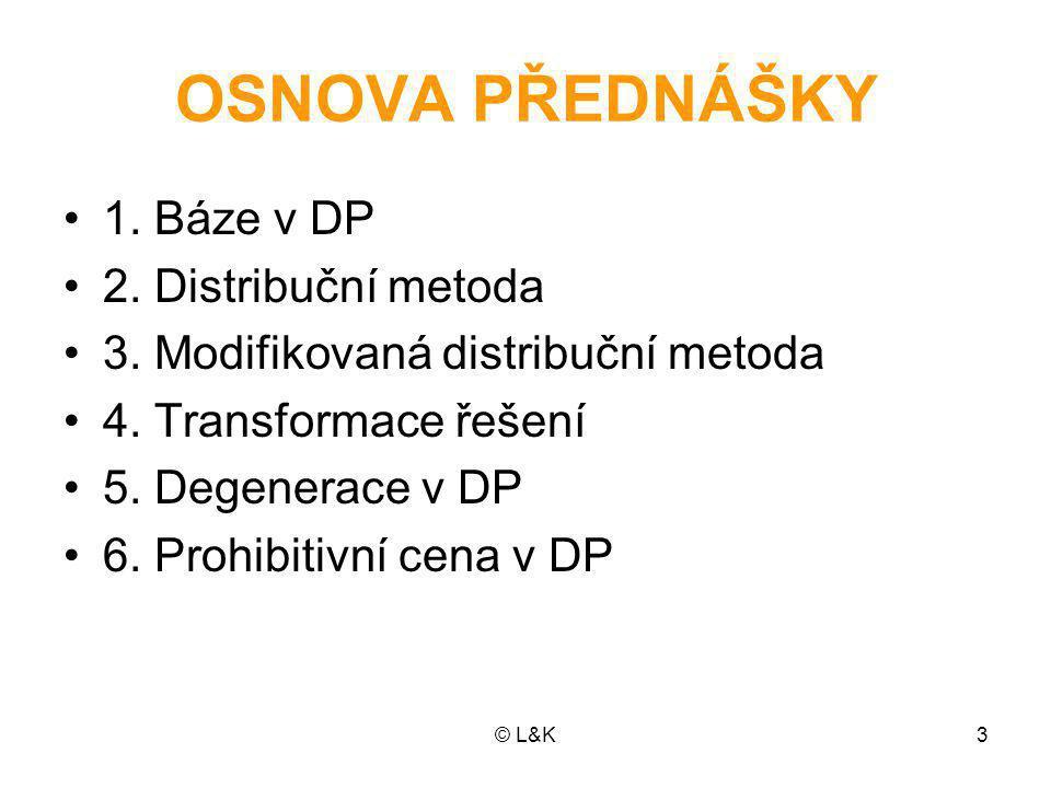 OSNOVA PŘEDNÁŠKY 1. Báze v DP 2. Distribuční metoda
