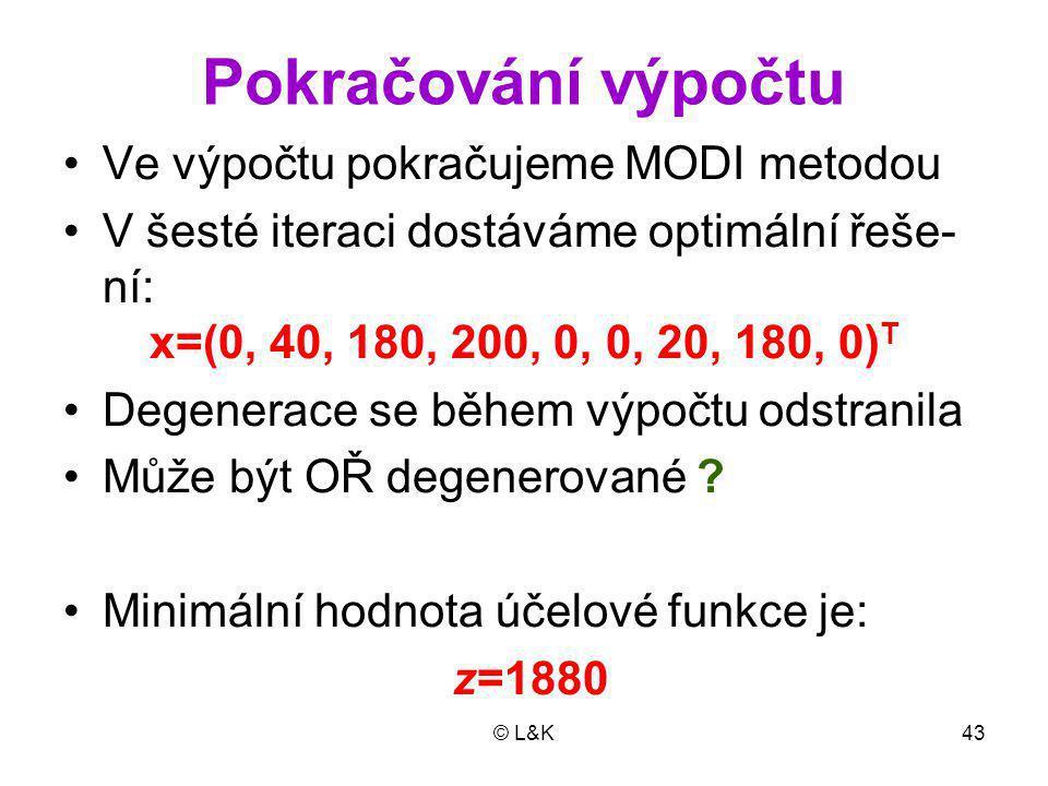 Pokračování výpočtu Ve výpočtu pokračujeme MODI metodou