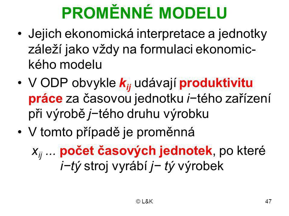 PROMĚNNÉ MODELU Jejich ekonomická interpretace a jednotky záleží jako vždy na formulaci ekonomic-kého modelu.
