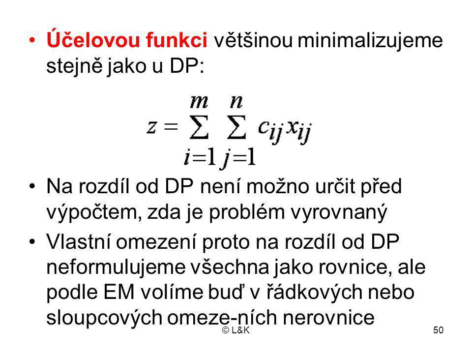 Účelovou funkci většinou minimalizujeme stejně jako u DP: