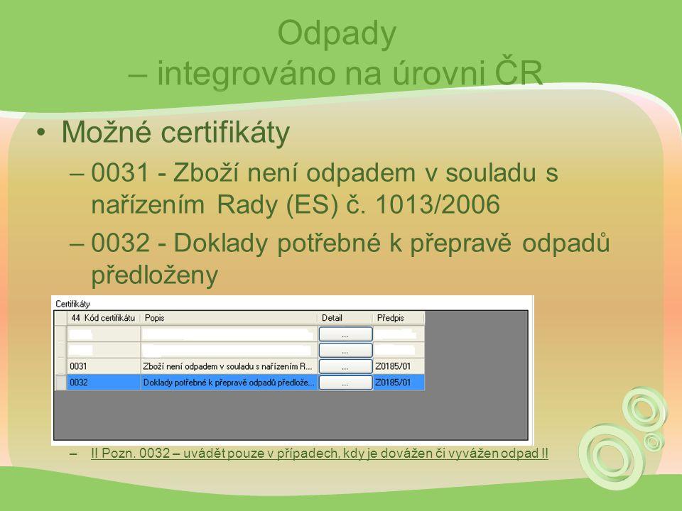 Odpady – integrováno na úrovni ČR