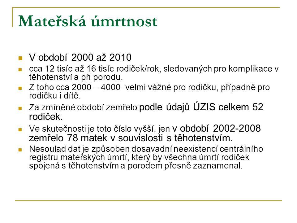 Mateřská úmrtnost V období 2000 až 2010
