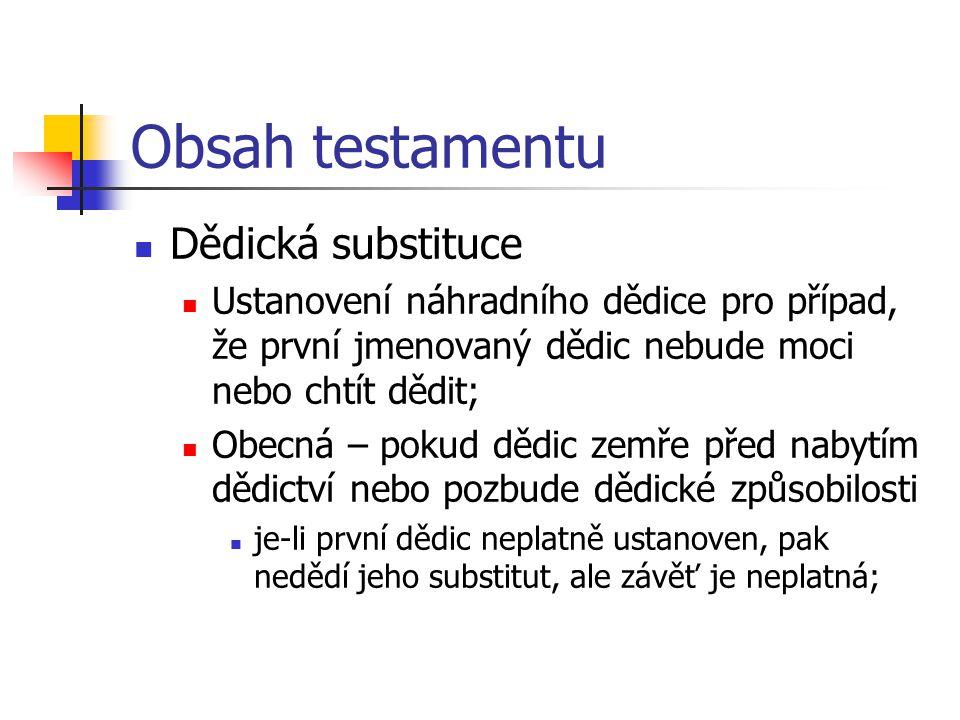 Obsah testamentu Dědická substituce
