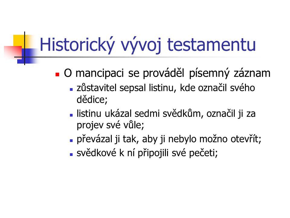Historický vývoj testamentu