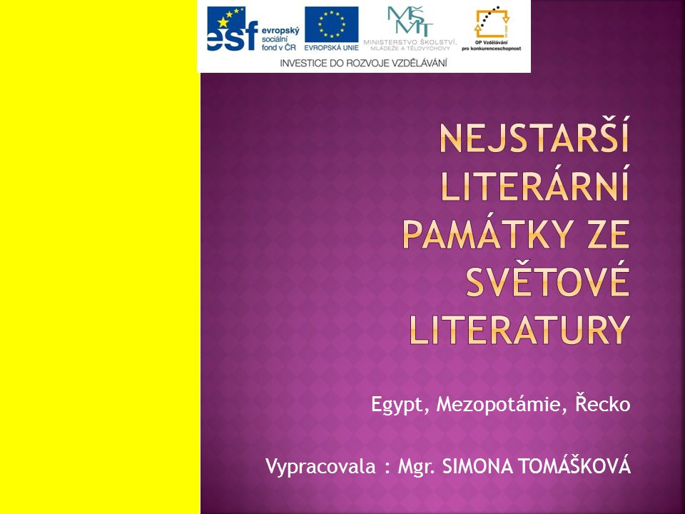 Nejstarší literární památky ze světové literatury