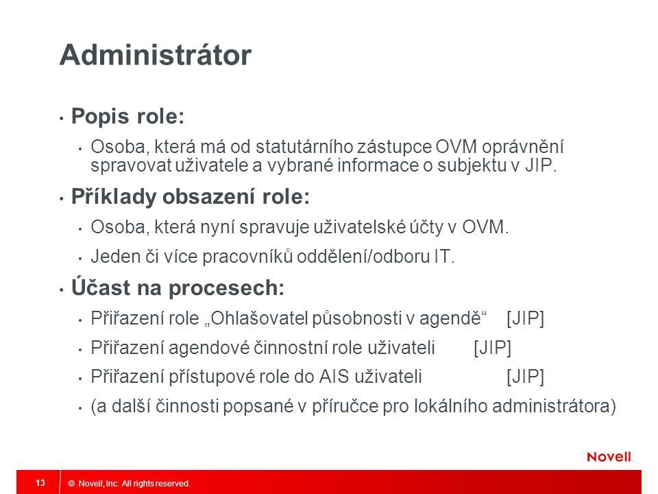 Administrátor Popis role: Příklady obsazení role: Účast na procesech:
