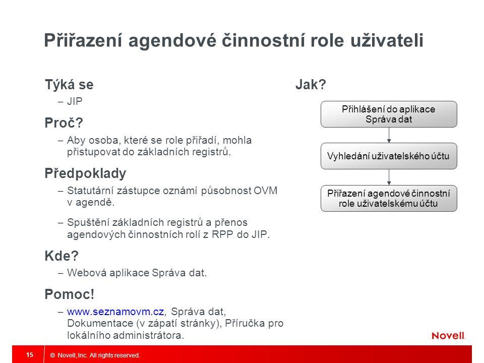 Přiřazení agendové činnostní role uživateli