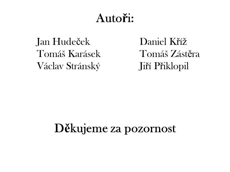 Konec Autoři: Děkujeme za pozornost Jan Hudeček Daniel Kříž