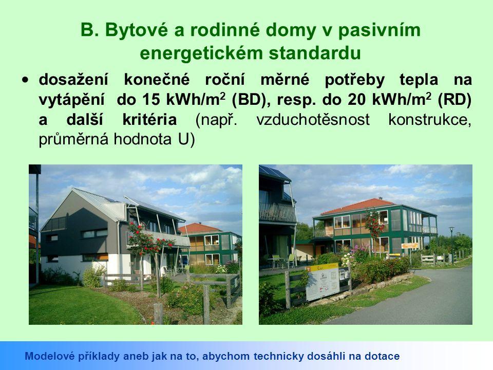 B. Bytové a rodinné domy v pasivním energetickém standardu