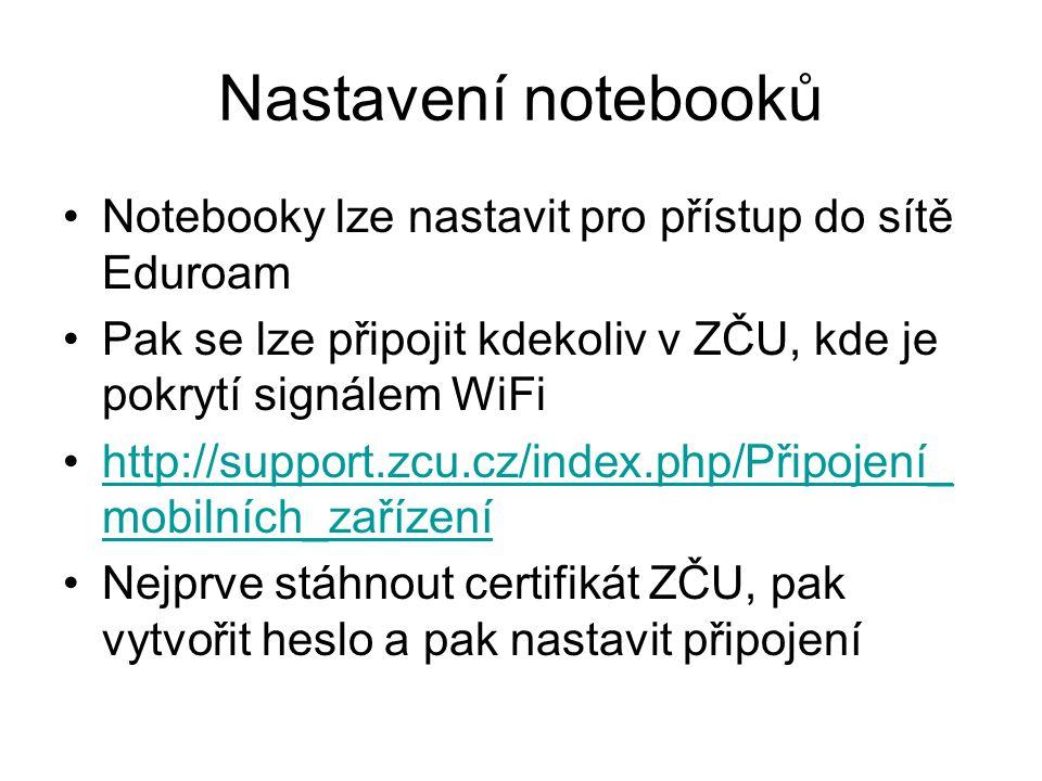 Nastavení notebooků Notebooky lze nastavit pro přístup do sítě Eduroam