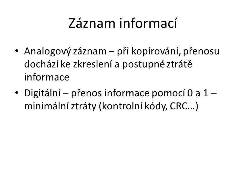 Záznam informací Analogový záznam – při kopírování, přenosu dochází ke zkreslení a postupné ztrátě informace.