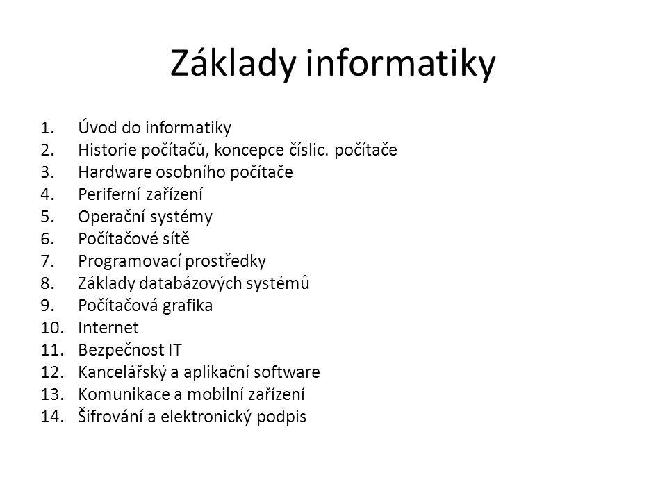 Základy informatiky Úvod do informatiky