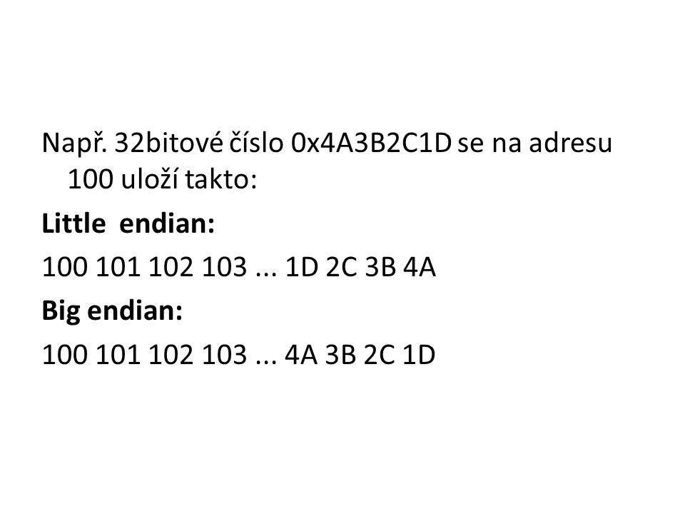 Např. 32bitové číslo 0x4A3B2C1D se na adresu 100 uloží takto: