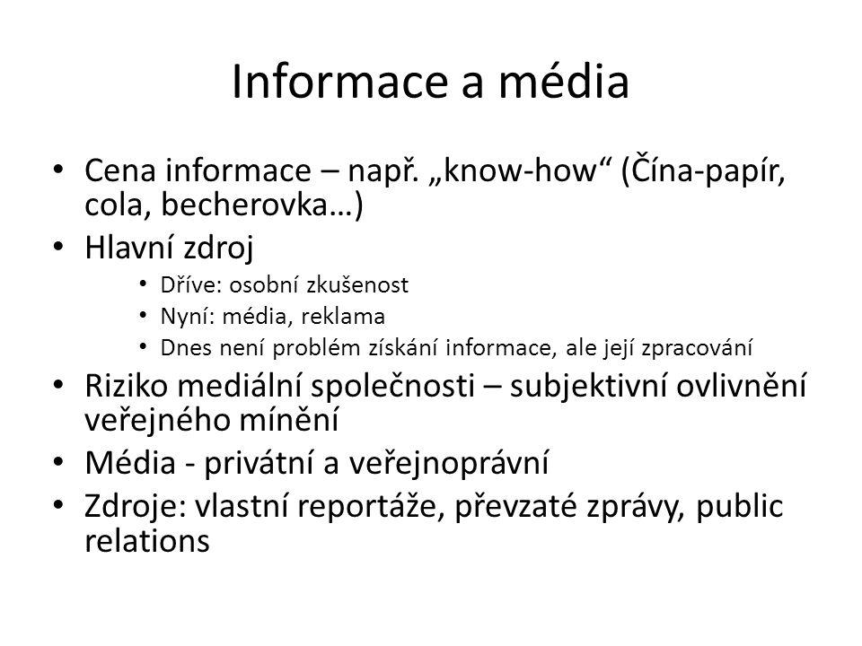 """Informace a média Cena informace – např. """"know-how (Čína-papír, cola, becherovka…) Hlavní zdroj. Dříve: osobní zkušenost."""