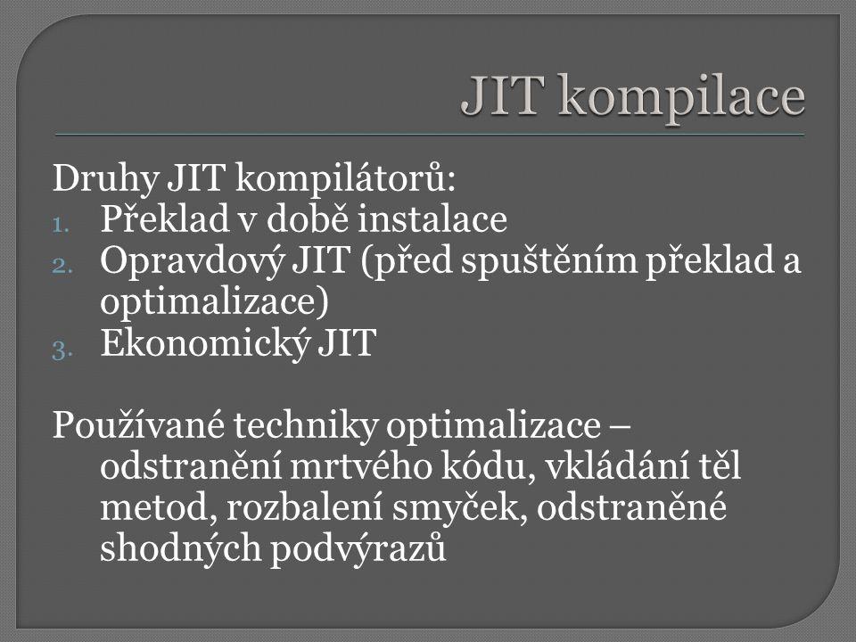 JIT kompilace Druhy JIT kompilátorů: Překlad v době instalace