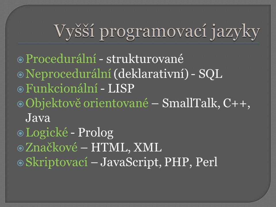 Vyšší programovací jazyky