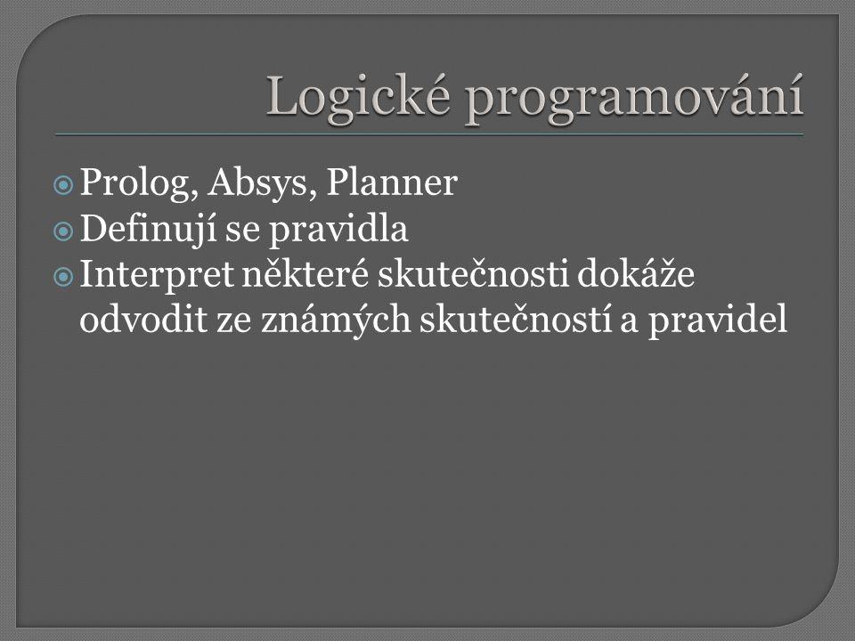 Logické programování Prolog, Absys, Planner Definují se pravidla