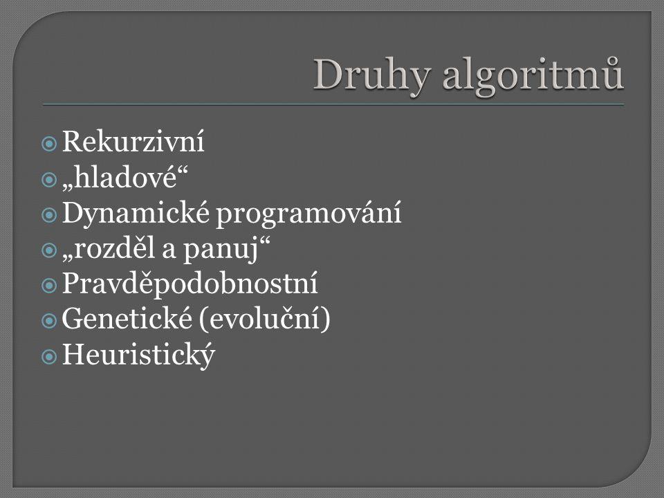 """Druhy algoritmů Rekurzivní """"hladové Dynamické programování"""