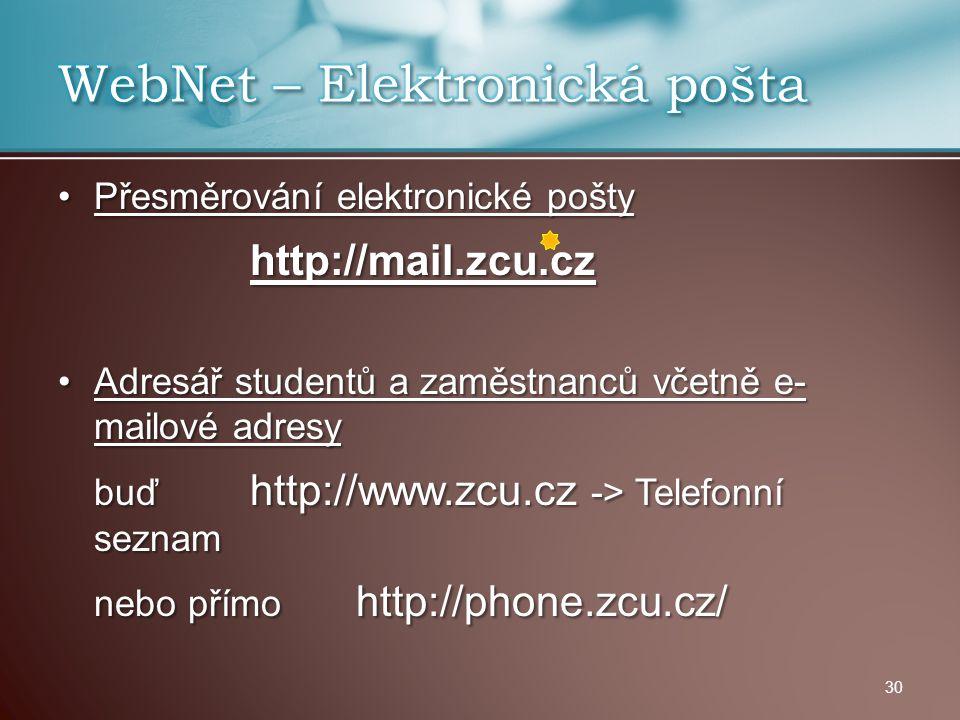 WebNet – Elektronická pošta
