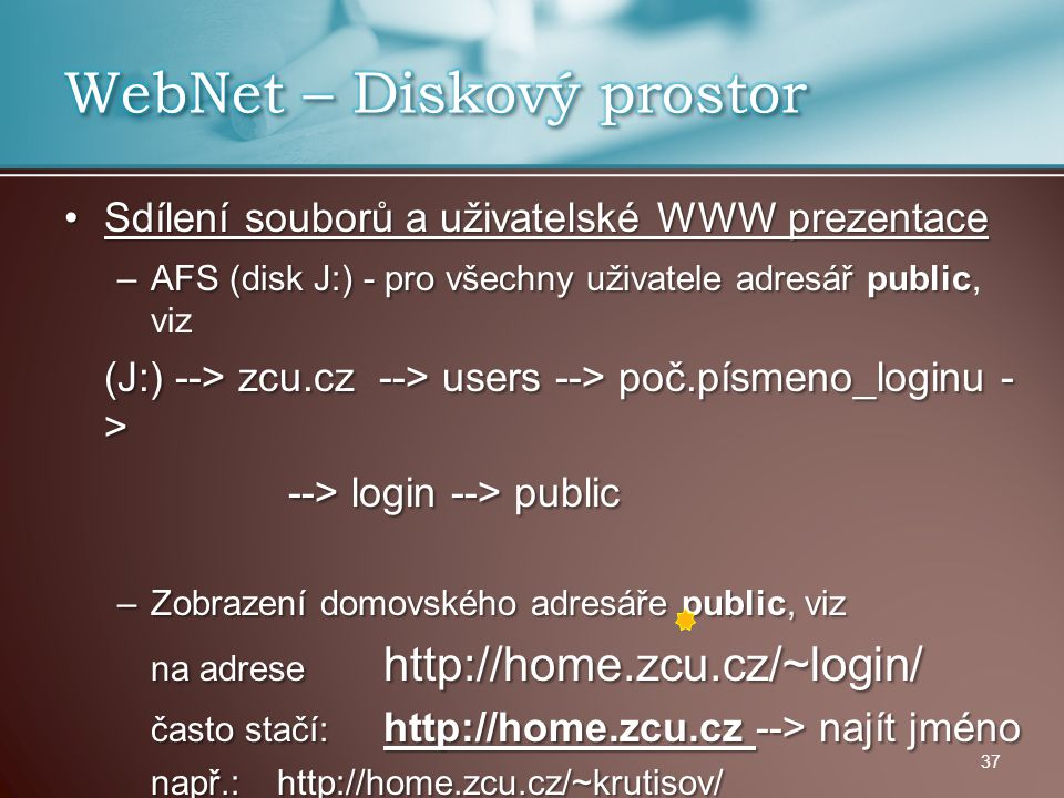 WebNet – Diskový prostor