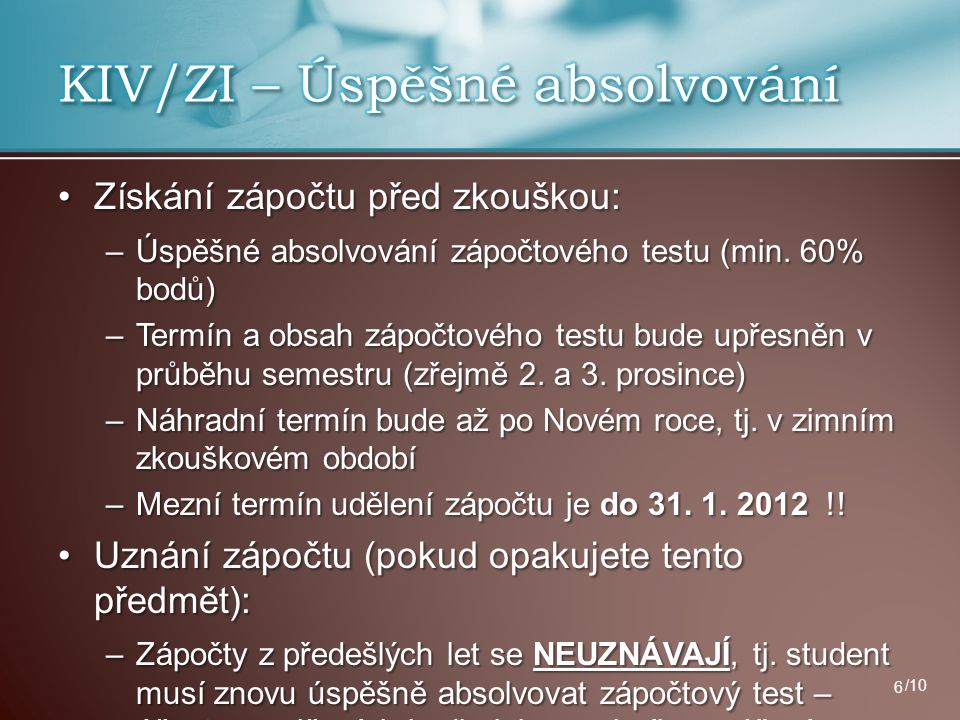 KIV/ZI – Úspěšné absolvování