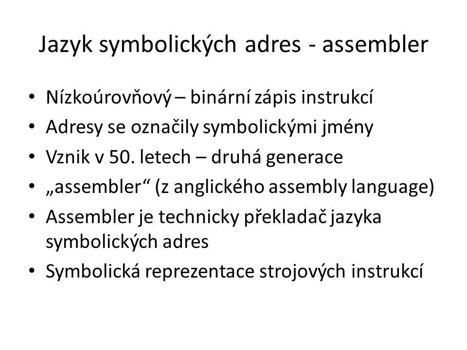 Jazyk symbolických adres - assembler