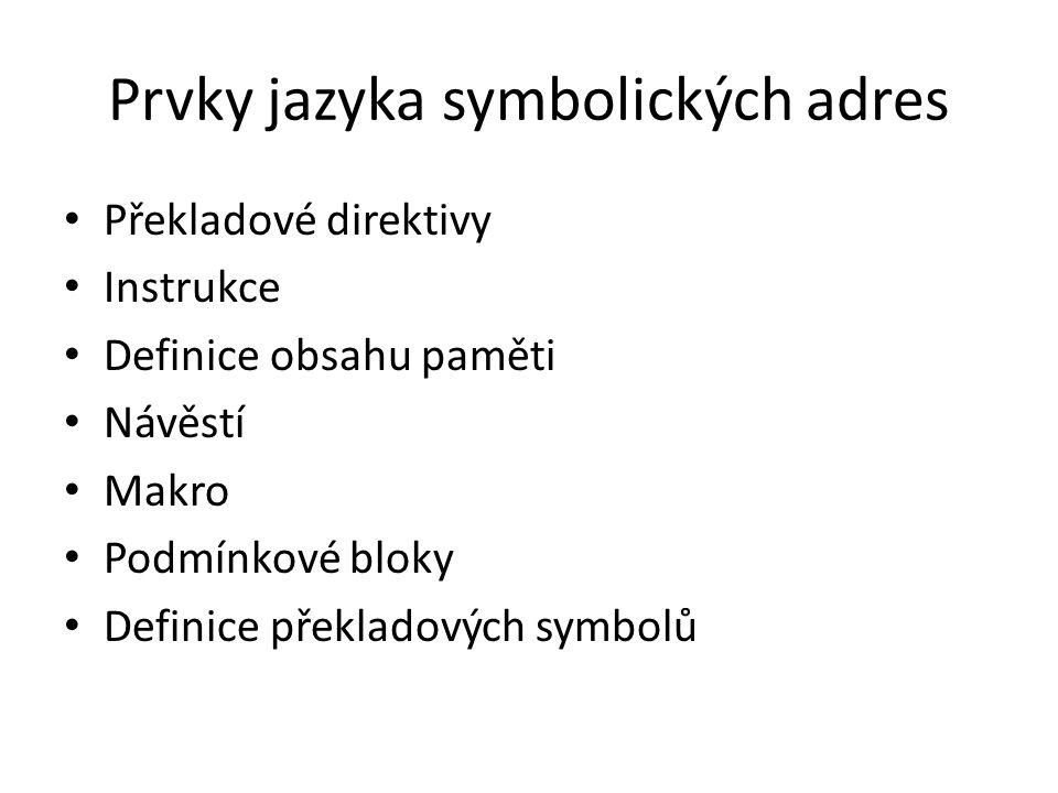 Prvky jazyka symbolických adres