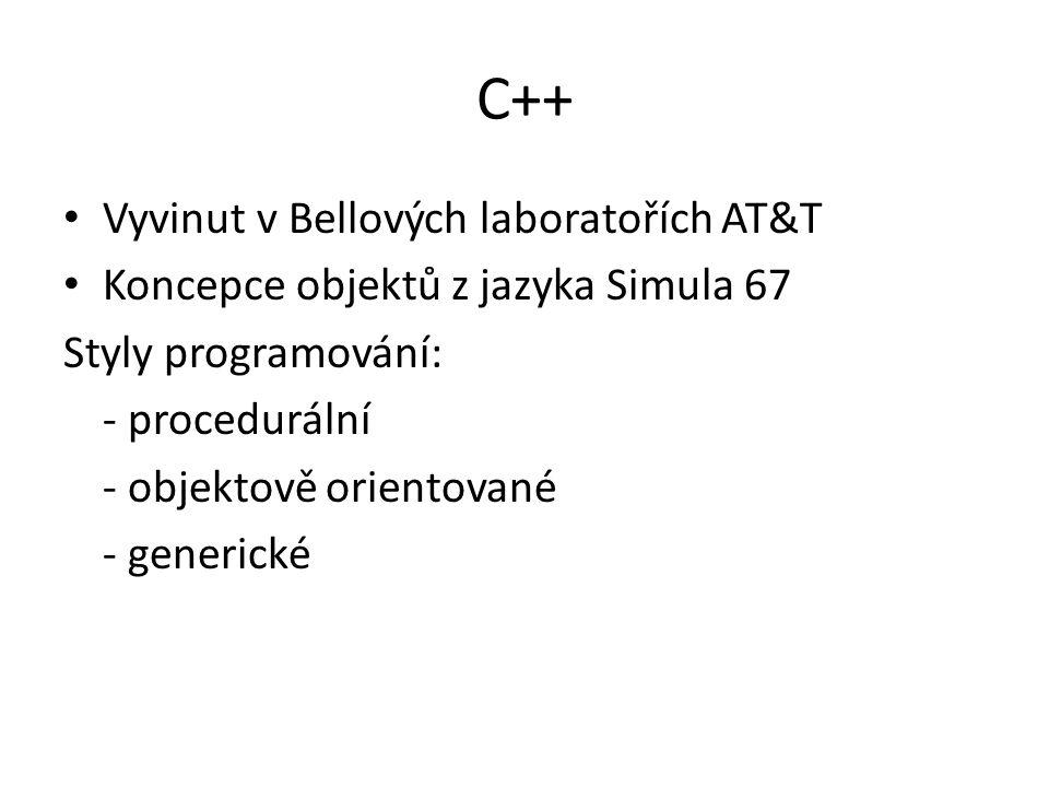 C++ Vyvinut v Bellových laboratořích AT&T