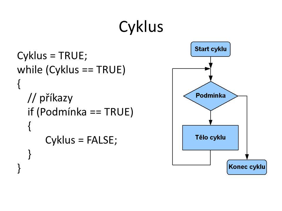 Cyklus Cyklus = TRUE; while (Cyklus == TRUE) { // příkazy if (Podmínka == TRUE) Cyklus = FALSE; }