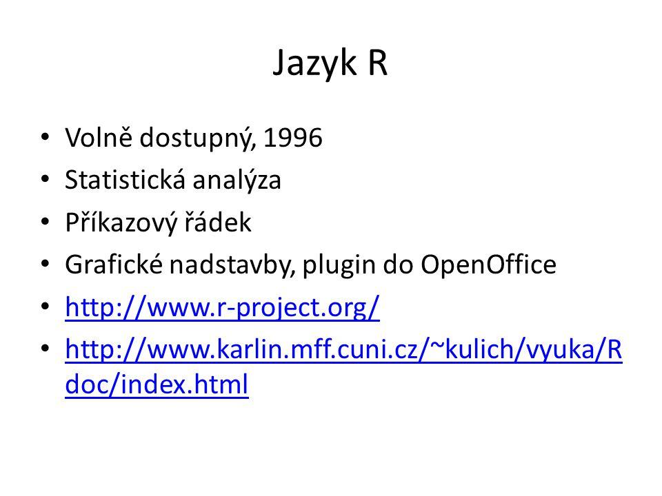 Jazyk R Volně dostupný, 1996 Statistická analýza Příkazový řádek