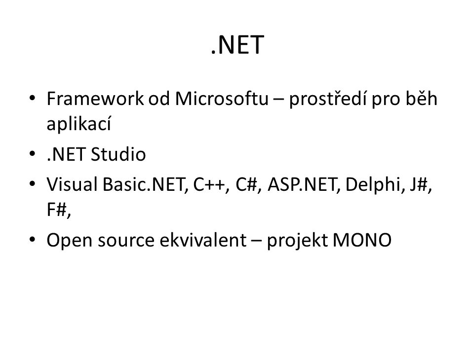 .NET Framework od Microsoftu – prostředí pro běh aplikací .NET Studio