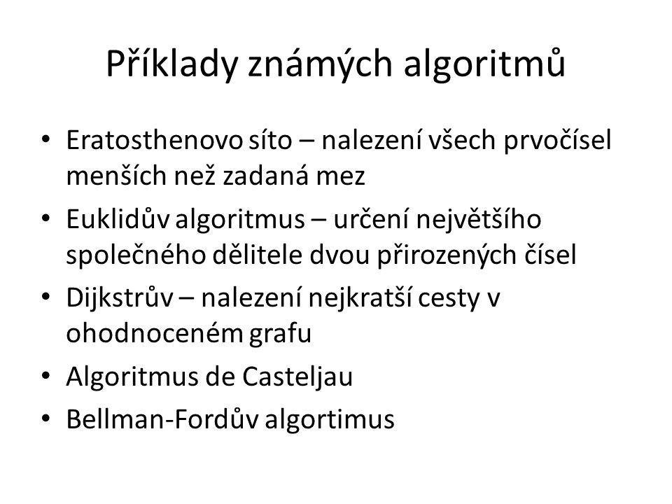 Příklady známých algoritmů