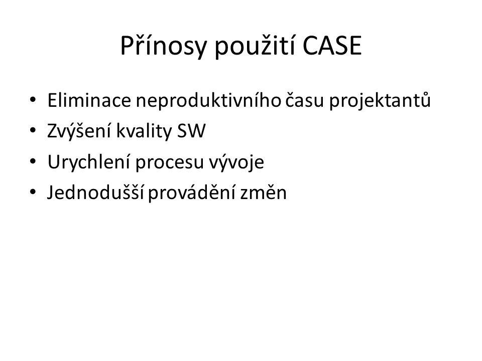Přínosy použití CASE Eliminace neproduktivního času projektantů
