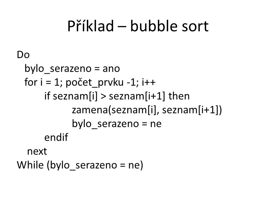 Příklad – bubble sort