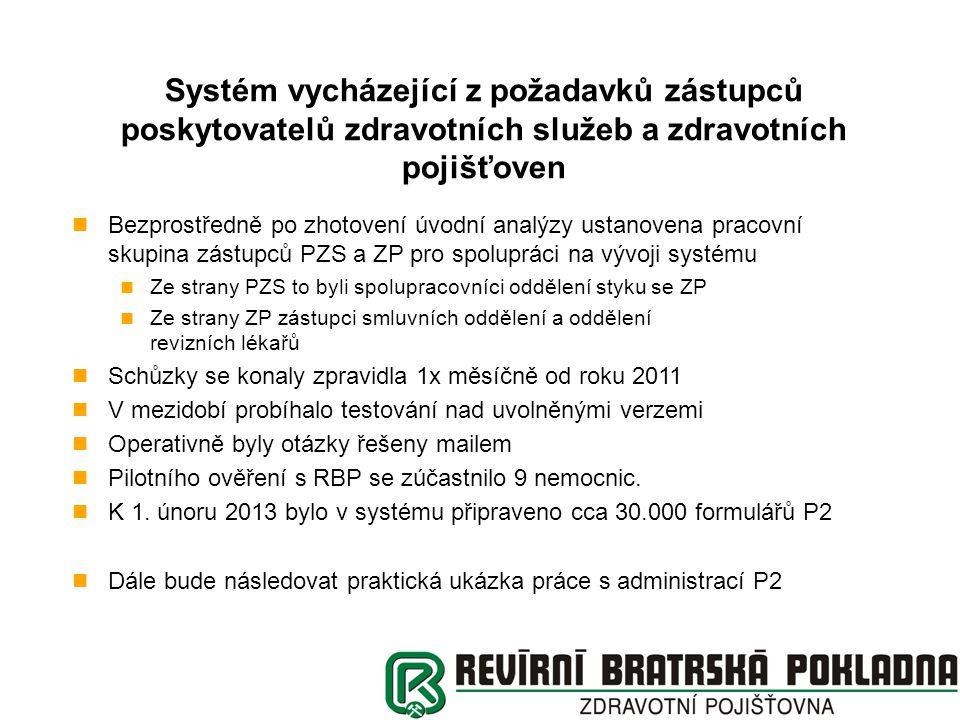 Systém vycházející z požadavků zástupců poskytovatelů zdravotních služeb a zdravotních pojišťoven