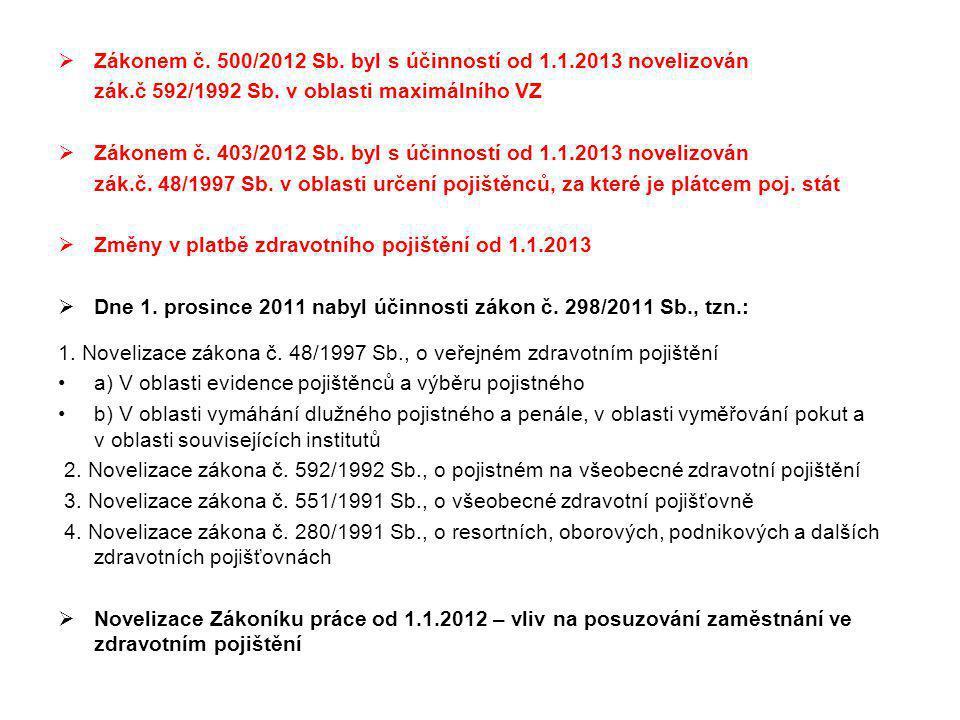 Zákonem č. 500/2012 Sb. byl s účinností od 1.1.2013 novelizován