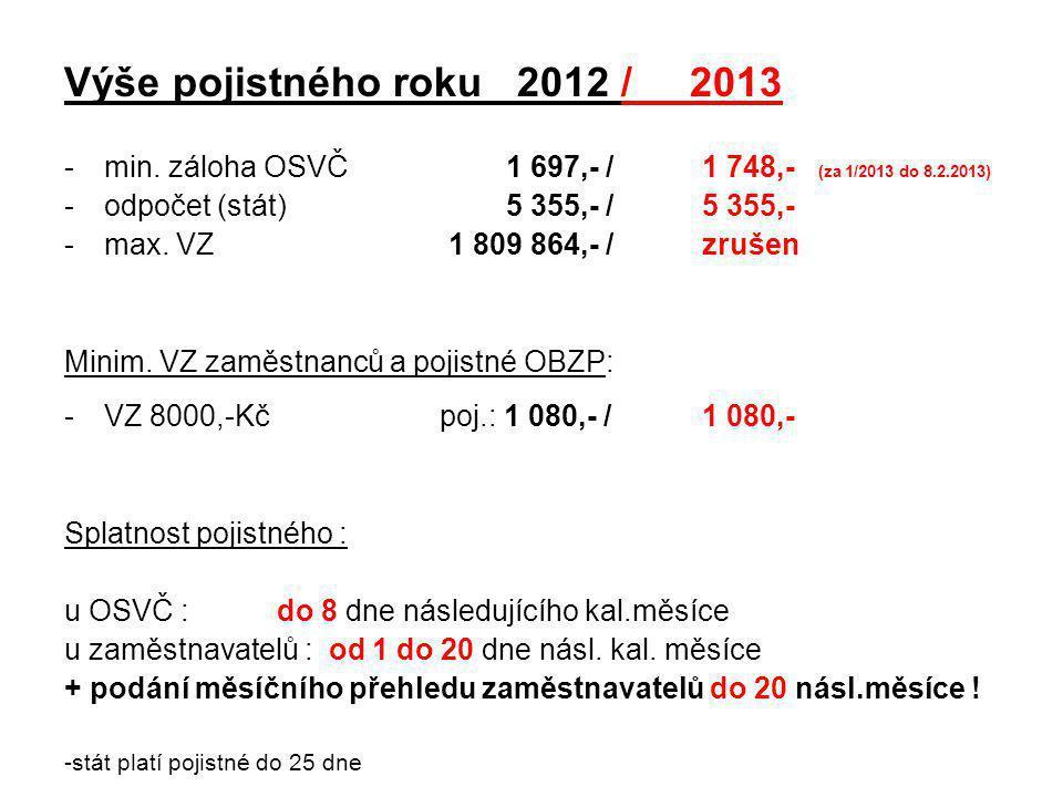 Výše pojistného roku 2012 / 2013 min. záloha OSVČ 1 697,- / 1 748,- (za 1/2013 do 8.2.2013)