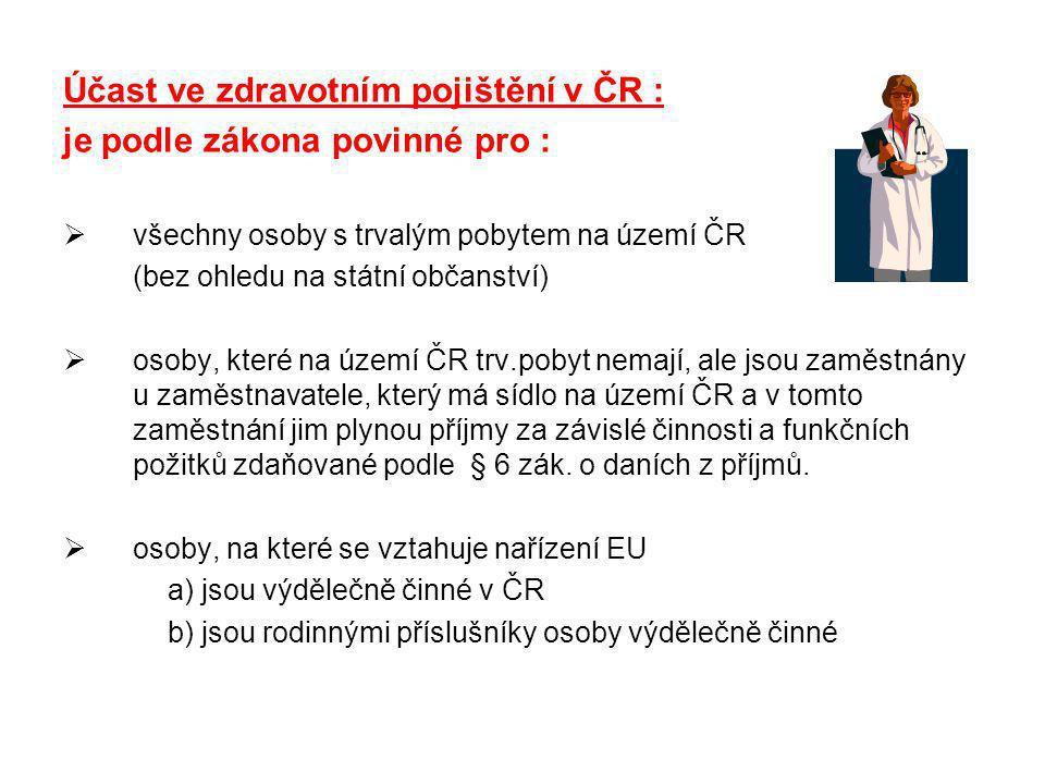 Účast ve zdravotním pojištění v ČR : je podle zákona povinné pro :